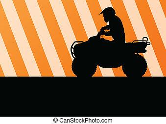 All terrain vehicle quad motorbike rider vector