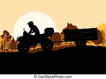 All terrain vehicle quad motorbike rider with wood trailer...
