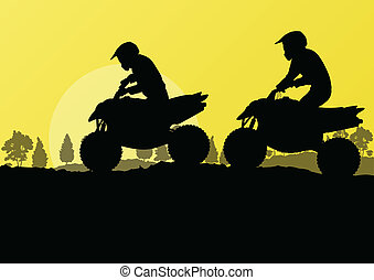 All terrain vehicle quad motorbike riders in countryside forest nature landscape background illustration vector