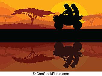 All terrain vehicle quad motorbike riders in wild nature landscape background illustration vector