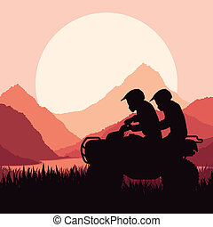 All terrain vehicle quad motorbike riders vector - All...