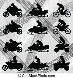 All terrain vehicle quad motorbikes and dune buggy riders illust