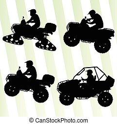 All terrain vehicle quad motorbikes and dune buggy riders illustration collection background vector