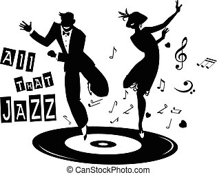 Black vector silhouette of a couple dressed in 1920s fashion dancing the Charleston on a record, no white objects, EPS 8