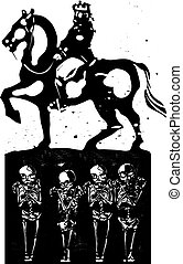 All the Kings Men - Woodcut style expressionist image of a...