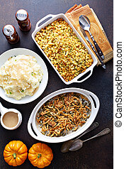 All traditional Thanksgiving side dishes, mashed potatoes, ...