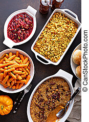 All traditional Thanksgiving side dishes, roasted carrots, ...
