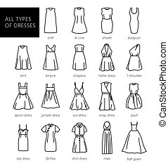 Dresses silhouette vector set. Vector. All types of women's dresses.