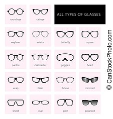 All types of glasses pink.eps