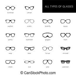 All types of glasses.eps - Flat vector glasses big set...