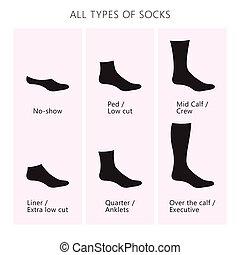 all types of socks - Vector illustration. Set of socks. All ...