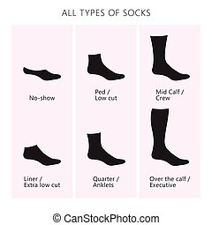 all types of socks.eps - Vector illustration. Set of socks....