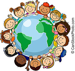 All united in the world - The world's children in a circle ...