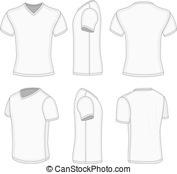 All views men's white short sleeve v-neck t-shirt. - All ...
