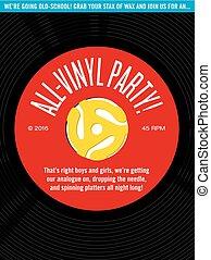all-vinyl, aufzeichnen, party, einladung