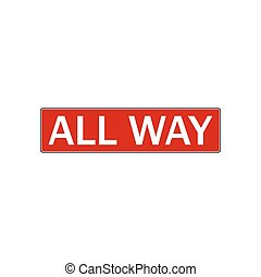 All way stop sign. illustration