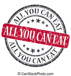 All You Can Eat red grunge round stamp on white background