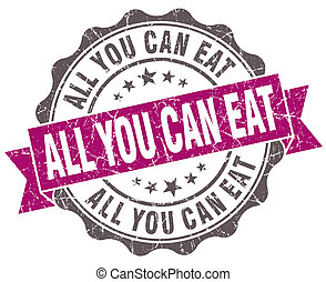 All you can eat violet grunge retro style isolated seal