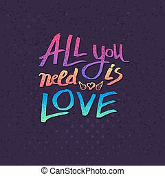 All You Need Is Love card design with colorful text in the...