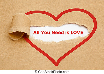 All You Need is Love Torn Paper - The text All You Need is...