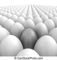 alla, ägg, -, grå, en, singel, över