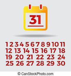 alla, guld, 31, illustration, månad, 1, singel, vektor, mall, år, datera, dugg, kalender, röd, ikon