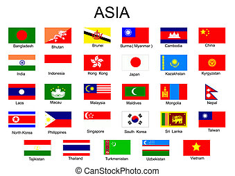 alla, land, lista, asien, mitt, utan, flaggan, asiat