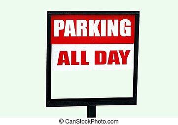 alla, parkering, dag, underteckna