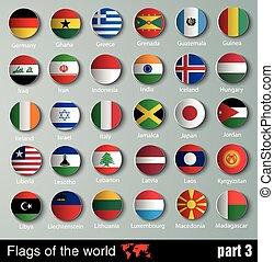 alla, vektor, flaggan, länder