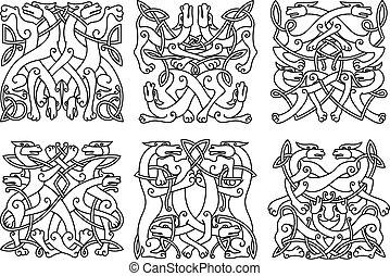 allacciato, mistico, celtico, animali, contorno