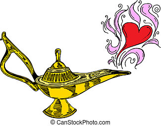 Alladin lamp with hearts in vector illustration