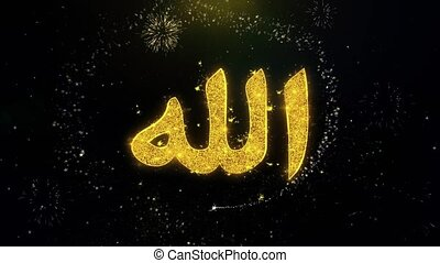 Allah, islam, muslim, god, religion Icon on Gold Particles...