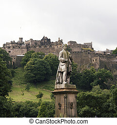 Allan Ramsay Statue and Edinburgh Castle