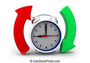 allarme, cerchio, freccia, orologio