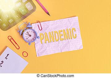 allarme, clip, colorato, testo, pandemic., zona, orologio, ...