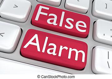 allarme, concetto, falso