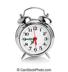 allarme, sfondo bianco, orologio