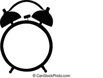allarme, silhouette, clock., classico