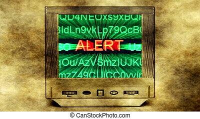 allarme, su, vecchio, monitor, schermo