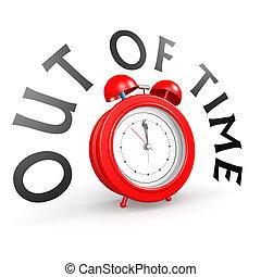 allarme, tempo fuori, orologio