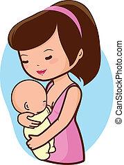 allattando, lei, illustrazione, vettore, madre, baby.