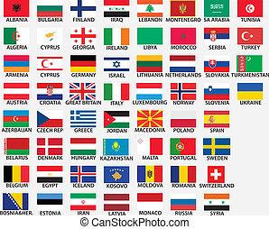 alle europäer- markierungsfahnen, national, länder