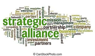 alleanza, concetto, etichetta, nuvola, strategico