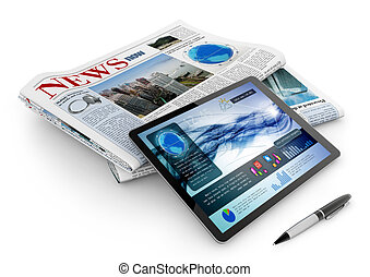 alledaags, pen, krant, tablet