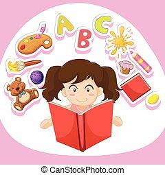 alleen, girl lezen, boek