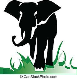 alleen, illustratie, elefant