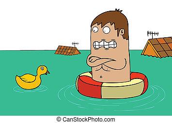 alleen, overstroming, -, eend