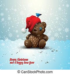 alleen, teddy, kerstmis, beer, zittende