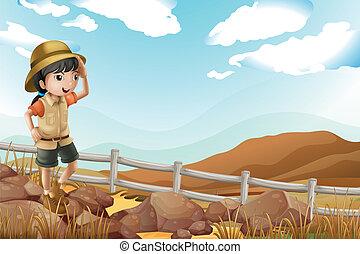 alleen, wandelende, ontdekkingsreiziger, vrouwlijk, jonge