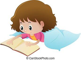 alleen, weinig; niet zo(veel), boek, lezende , meisje